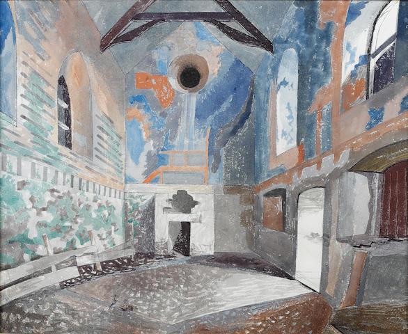 Edward Bawden (British, 1903-1989) Derelict Chapel, Minions Nr Uskeard 46 x 56.5 cm. (18 1/8 x 22 1/