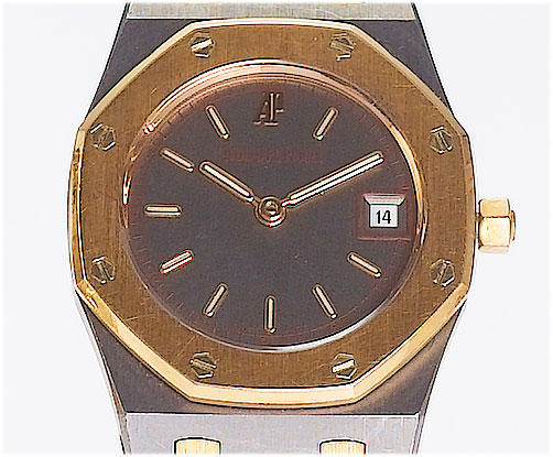 Audemars Piguet. A fine lady's stainless steel and 18ct rose gold calendar bracelet watch Royal Oak, No.787, Ref:D78503