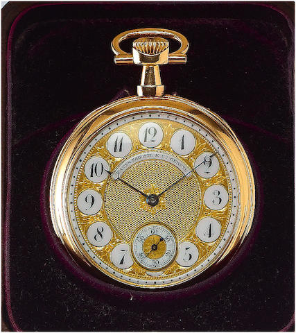 Patek Philippe. A fine and rare 18ct rose gold open face keyless lever pocket watch with fancy dial and with original Patek Philippe numbered box Case No.200558, Movement No.81280, 1890's
