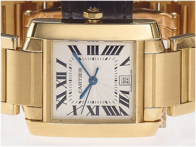 Cartier. A fine 18ct gold automatic centre seconds calendar bracelet watch with box and papers  recent