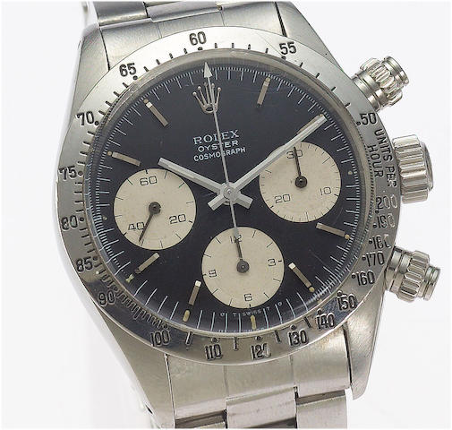 Rolex. A fine and rare stainless steel chronograph wristwatch Oyster Cosmograph, Case No.5273131, Ref.6263/6265 circa 1977