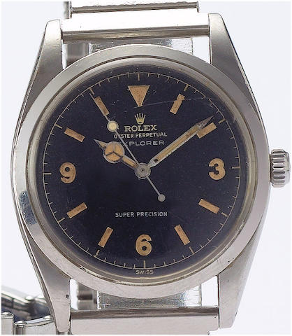 Rolex. A stainless steel automatic centre seconds wristwatchExplorer, Ref:5504 circa 1958
