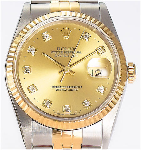 Rolex. A fine stainless steel and gold automatic calendar wristwatch with diamond dot dial Ref:16200, recent