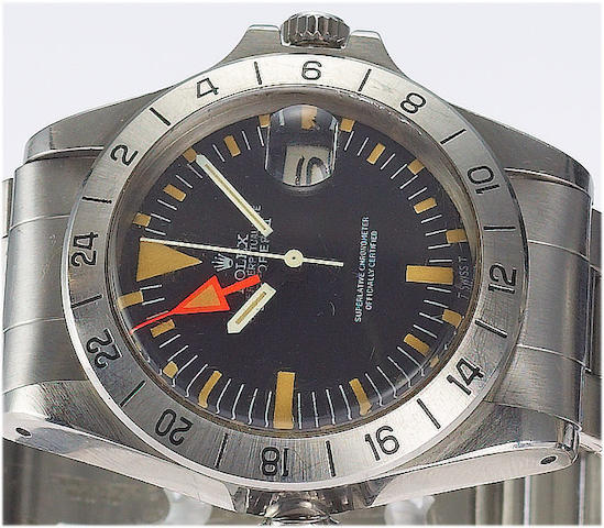 Rolex. A fine stainless steel centre seconds automatic wristwatch with special 24-hour bezel and orange handExplorer II, Ref:1655 Case No.3583452, circa 1972.