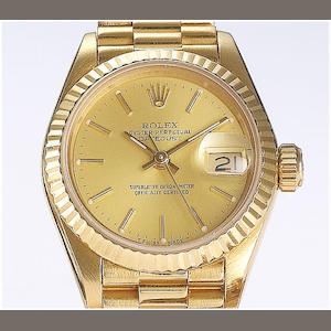 Rolex. A lady's 18ct gold calendar bracelet watch Datejust, 1986