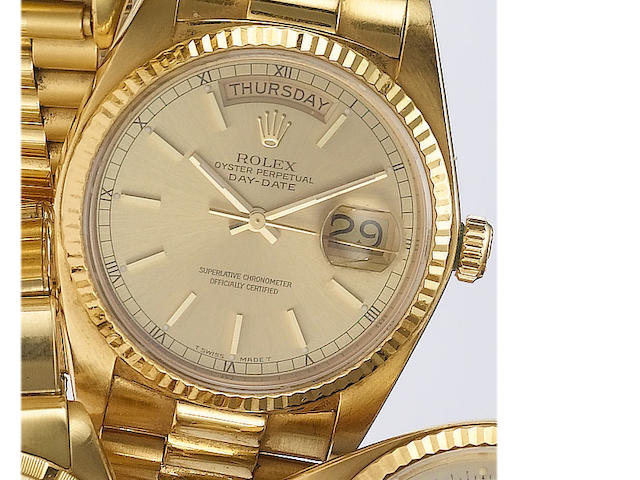 Rolex. An 18ct gold centre seconds calendar bracelet watch  Day-Date, 1981