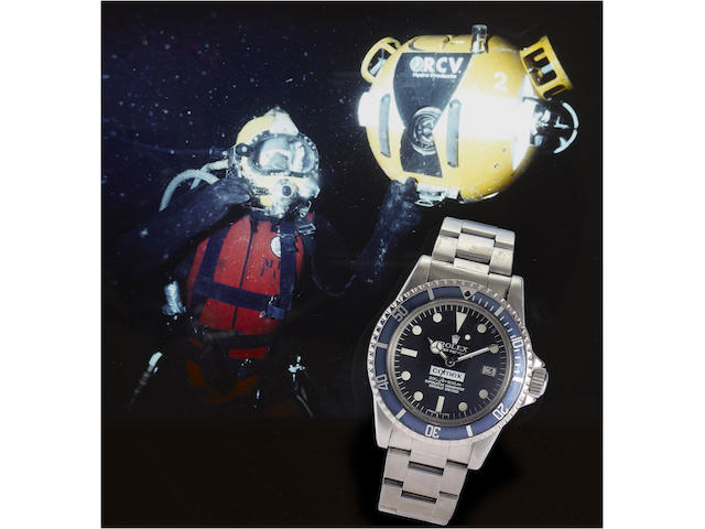 Rolex. A rare stainless steel automatic centre seconds divers watch made for Comex together with divers log books and photographic historySea-Dweller, 'Comex 2213' Ref:1665, Case No.6193052, 1979