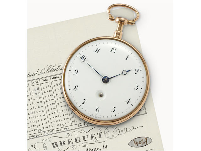 "Breguet. A fine and rare 22ct gold open face pocket watch with ""à toc"" quarter repeating  Watch No. 1165, Sold to Monsieur Talbot, Secretary to the English Ambassador on 20 Germinal an 11 (20 March 1794) for 1320 French Francs."