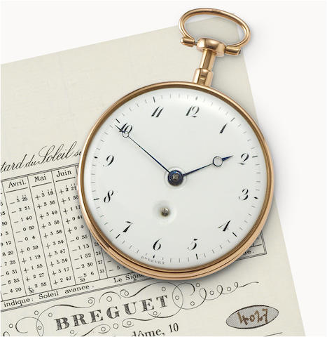 """Breguet. A fine and rare 22ct gold open face pocket watch with """"à toc"""" quarter repeating Watch No. 1165, Sold to Monsieur Talbot, Secretary to the English Ambassador on 20 Germinal an 11 (20 March 1794) for 1320 French Francs."""