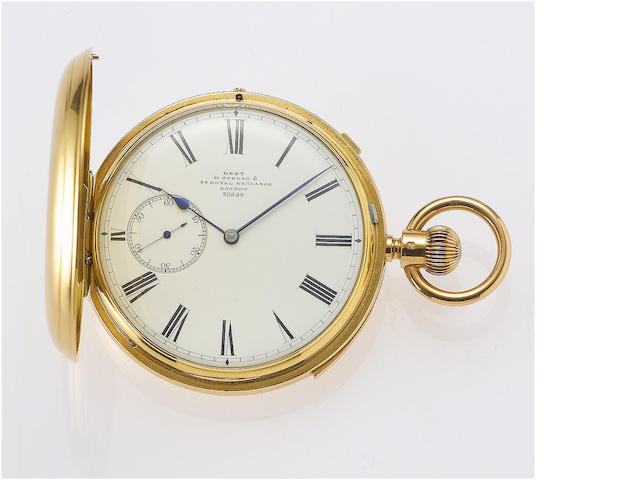 Dent. A very fine and rare half/quarter repeating chronometer pocket watch with Octave Vivier winding  No.30889, Hallmarked for London 1867
