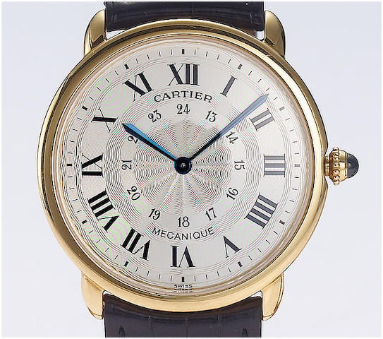 Cartier. A fine 18ct gold manual wind wristwatchMecanique, recent