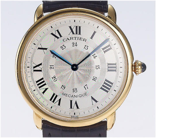 Cartier. A fine 18ct gold manual wind wristwatch Mecanique, recent