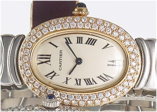 Cartier. A lady's stainless steel and 18ct gold diamond set bracelet watch  Recent