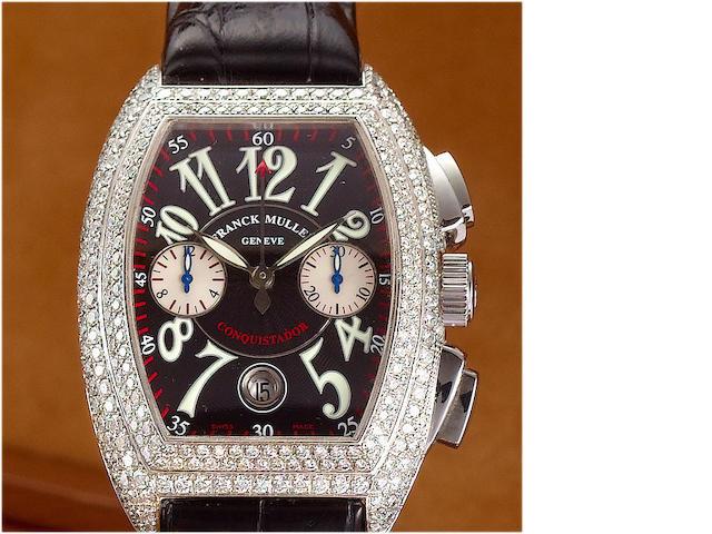Franck Muller. A fine stainless steel diamond set automatic chronograph calendar wristwatch Conquistador, 1990's, No.1477, Ref.8005 CC