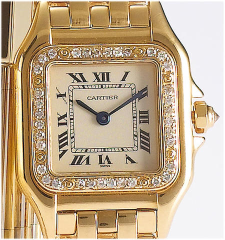 Cartier. A lady's 18ct gold diamond set bracelet watch Panthere, 1990's