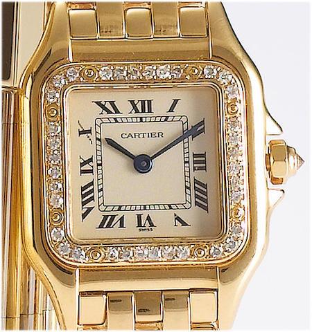 Cartier. A lady's 18ct gold diamond set bracelet watch Panthere, 1990's