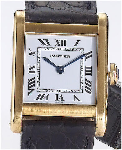 Cartier. An 18ct gold rectangular case manual wind wristwatchTank, 1980's