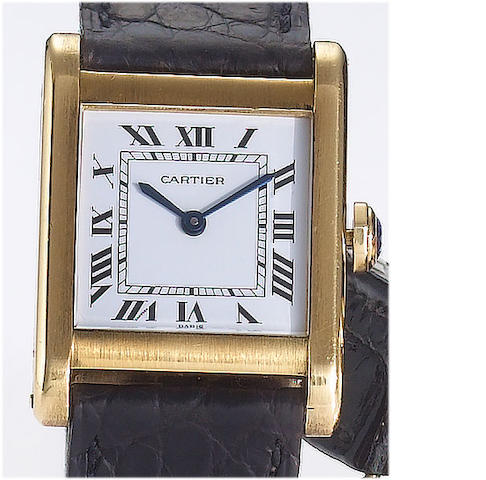 Cartier. An 18ct gold rectangular case manual wind wristwatch  Tank, 1980's