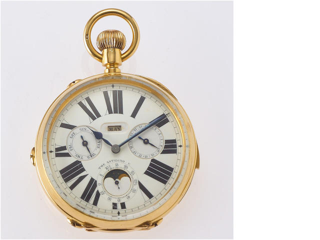 Swiss. A fine and rare 18ct gold late 19th century keyless lever oversized open face triple calendar repeating Goliath pocket watch  The Astronomer, circa 1890
