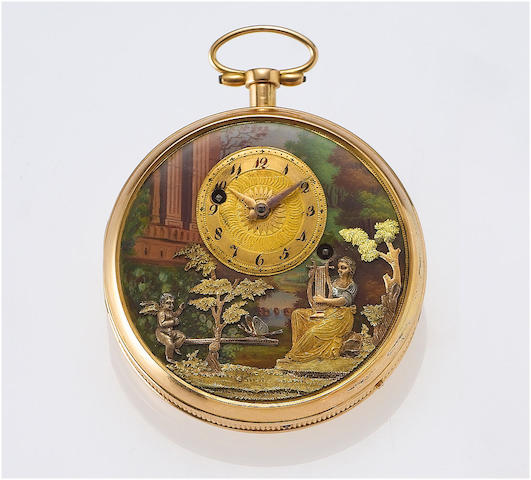 """The See-Saw"" A rare early 19th century gold and enamel decorated quarter repeating musical pocket watch Case No.506, circa 1820's af"