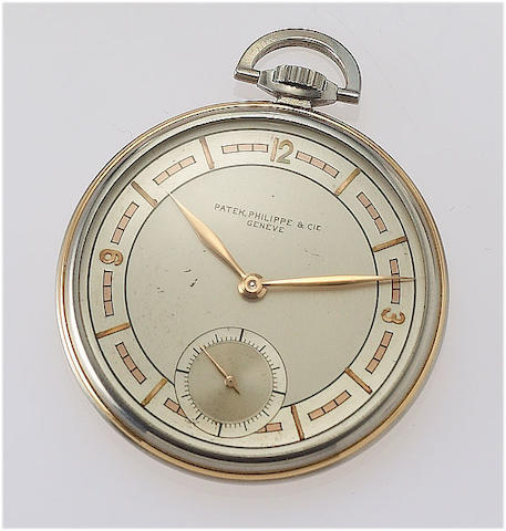 Patek Philippe. A fine steel and gold open face pocket watch Case No.504339, Movement No.823894, circa 1938
