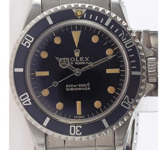 Rolex. A fine stainless steel automatic centre seconds wristwatchSubmariner, Ref: 5513, circa 1963