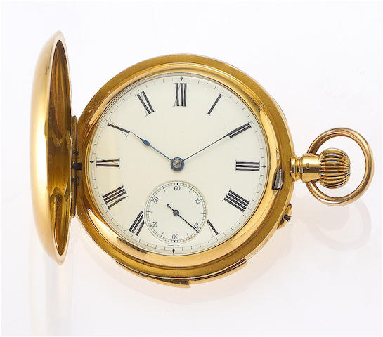 """""""Westminster Chime Carillon Minute Repeater"""" A fine and extremely rare 18ct gold keyless lever full hunter minute repeating pocket watch with Carillion Westminster chime repeating on four gongs with four hammers Constant Piguet, Le Sentier, Swiss Patent No. 11948 Case No.032209, circa 1910"""
