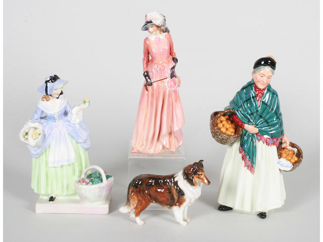 Three figures and a model of a collie dog,