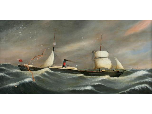 David J. Dixon (circa 1900) Steam ship at sea, together with another similar, a pair,
