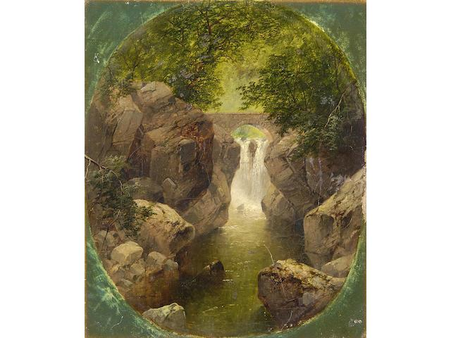 Attributed to John Brandon Smith (British, 1848-1884) River scene with bridge and waterfall, 30 x 25cm oval.