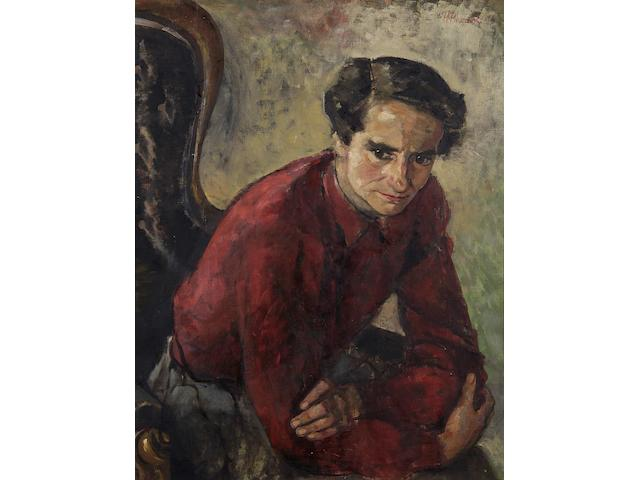 Philippa M. Thomas (British, 20th Century) Portrait of Miss Joyce Layland, seated,
