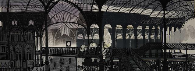 Edward Bawden (British, 1903-1989) Liverpool Street Station, London plate 55 x 148cm (21 3/4 x 50 1/4in).