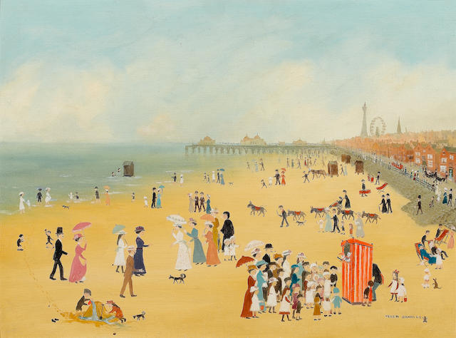 Helen Bradley (British, 1900-1979) Blackpool Sands 45.7 x 61 cm. (18 x 24 in.)