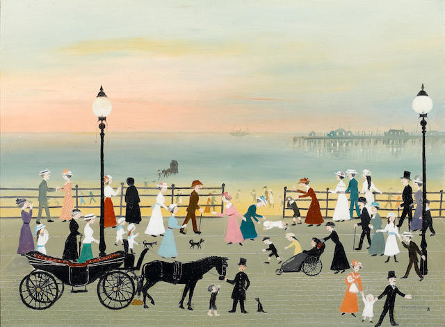 Helen Bradley (British, 1900-1979) Evening on the Promenade 45.7 x 61 cm. (18 x 24 in.)