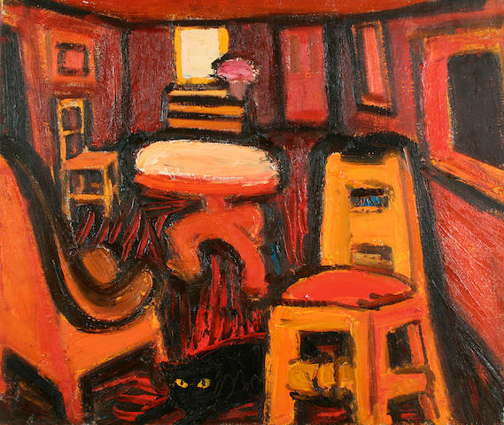 Theodore Major (British, 1908-1999) Interior with cat, together with a table top still life verso,