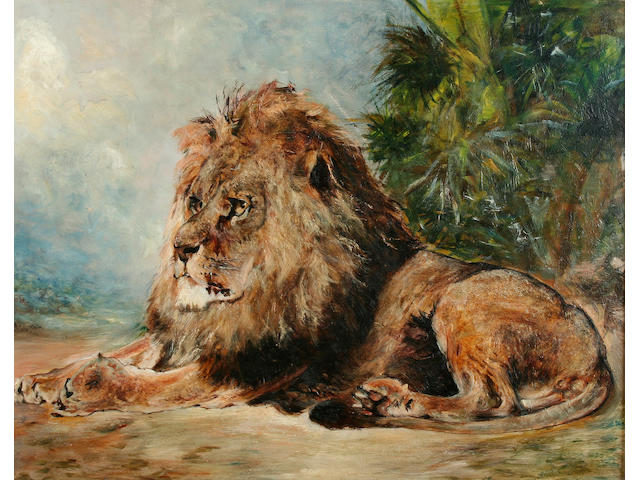 "Follower of William Huggins (British, 1820-1884) ""Lion resting in shade"","