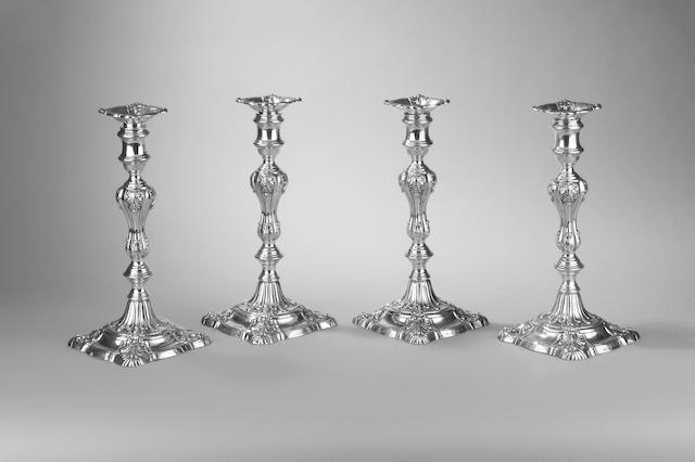 A set of four William IV candlesticks, by S. C. Younge & Co., Sheffield 1830,
