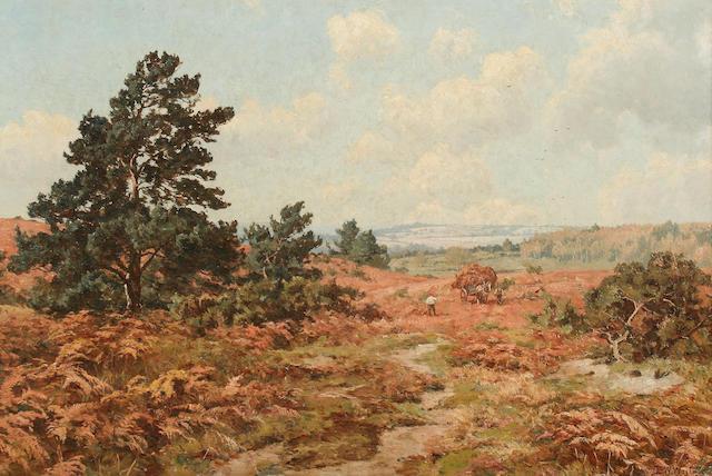 Edward Wilkins Waite (British, 1854-1924) Heathland landscape with men cutting bracken and horse and cart,