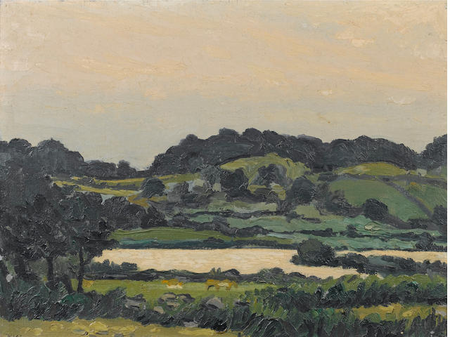 Sir Kyffin Williams  (British, 1918-2006) Welsh landscape 46 x 61 cm. (18 x 24 in.)