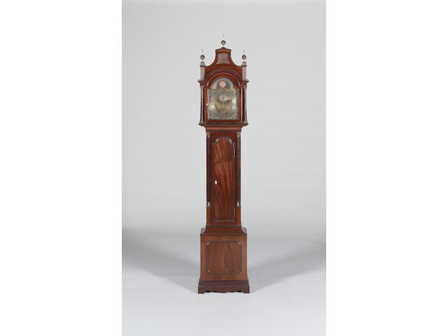 A small 20th century mahogany longcase clock Signed Stephen Rimbault