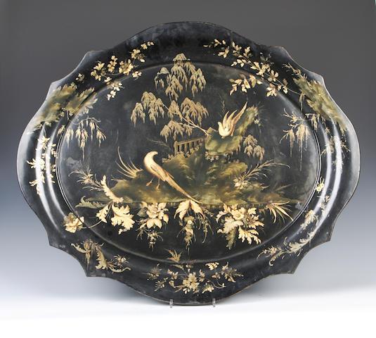 A Victorian toleware tray