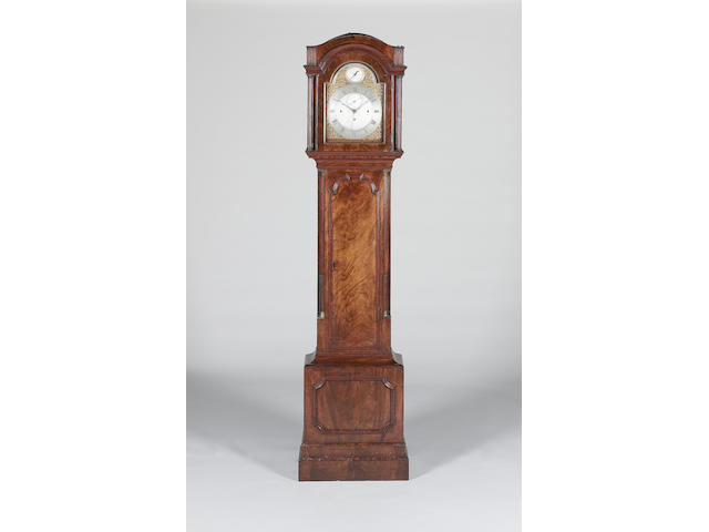 A late 18th century mahogany quarter chiming longcase clock  Eardley Norton, London