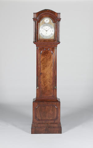 A late 18th century mahogany quarter chiming longcase clock with deadbeat escapement Eardley Norton, London