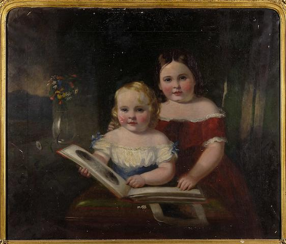 William Bowness (1809-1867) Portrait of Alice and Bryan in an interior