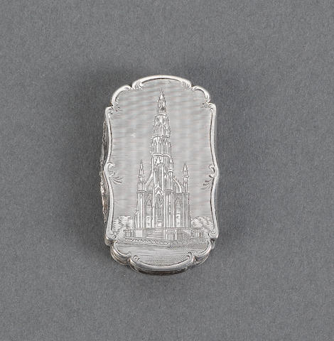 A Victorian silver pictorial vinaigrette, by Nathaniel Mills, Birmingham 1847,