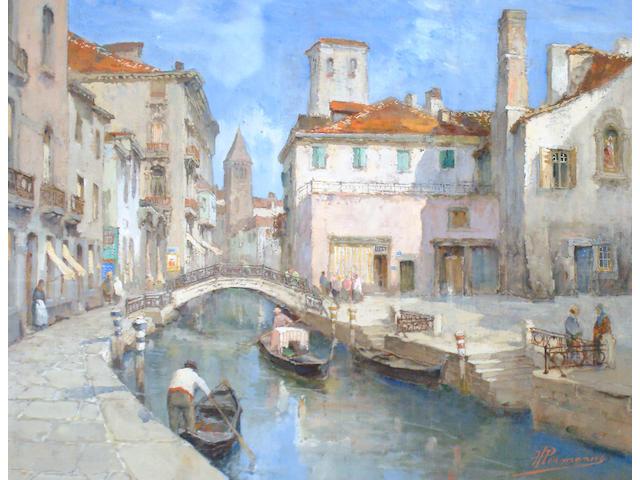 Paul Hermanus (Belgian, 1859-1911) Canal scene, Venice