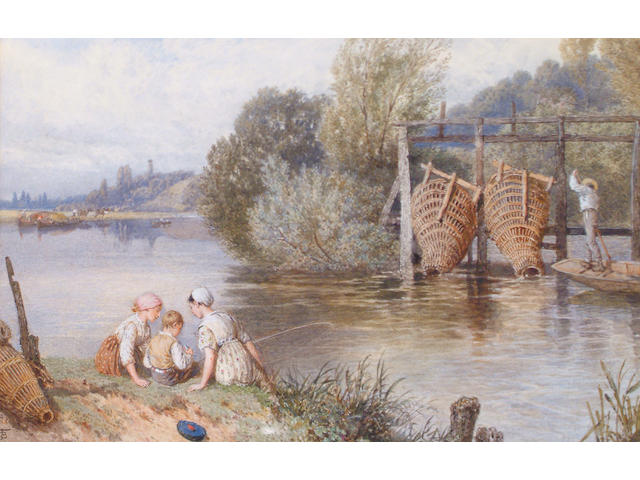 Myles Birket Foster (British, 1825-1899) Eel traps at Goring-on-Thames