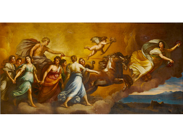 After Guido Reni `Aurora' (Pallazo Pallavizion) oil on canvas