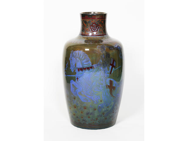 A large and impressive Pilkingtons Royal Lancastrian lustre vase by Richard Joyce