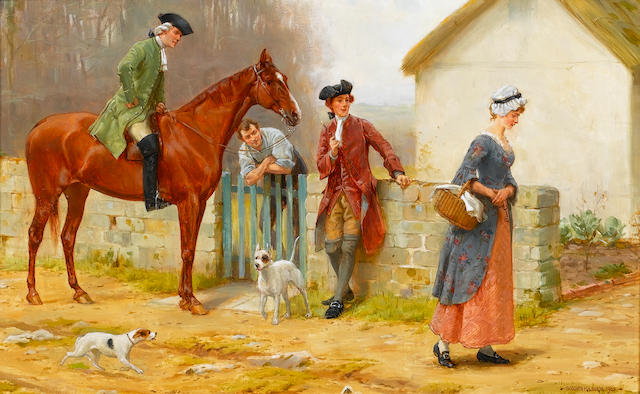 George Goodwin Kilburne, RI, RBA (British, 1839-1924) A difficult passage 25.5 x 40 cm. (10 x 15 3/4 in.)